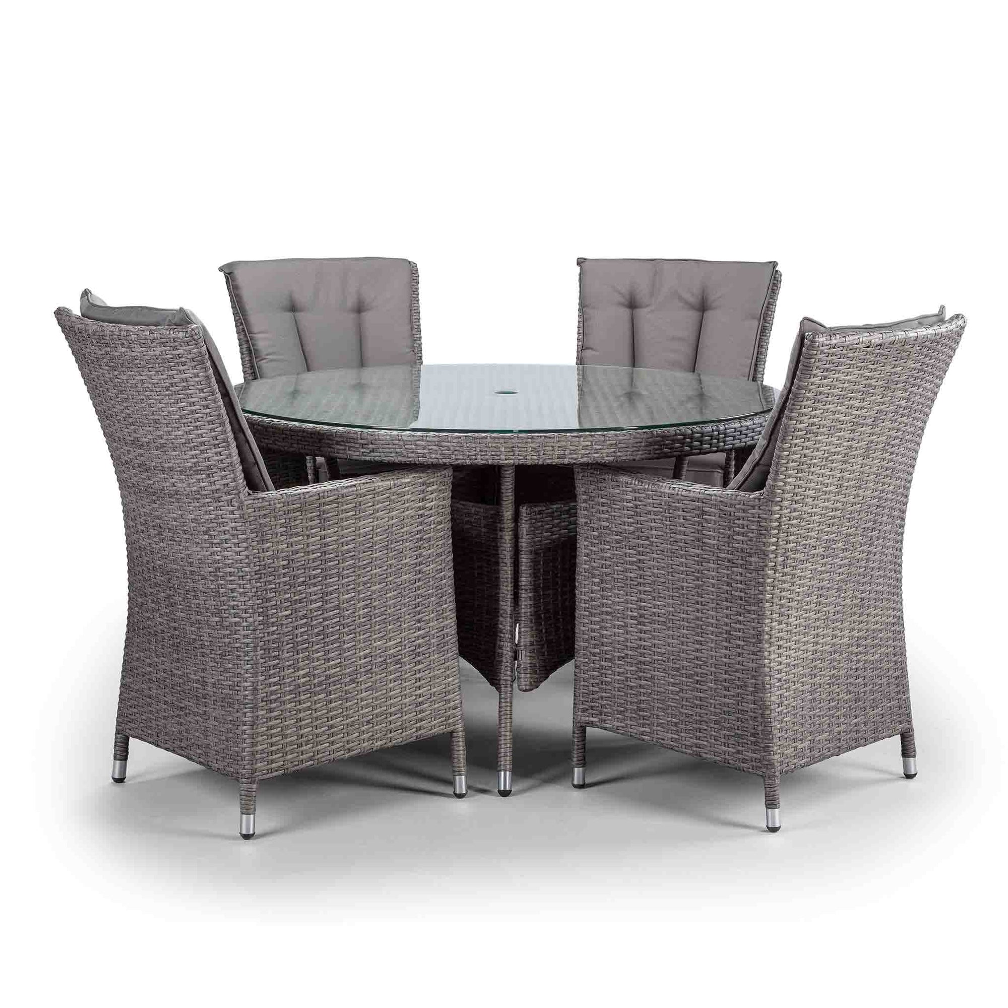 Palma 9cm Round Grey Rattan Dining Table and Chairs with Glass ...