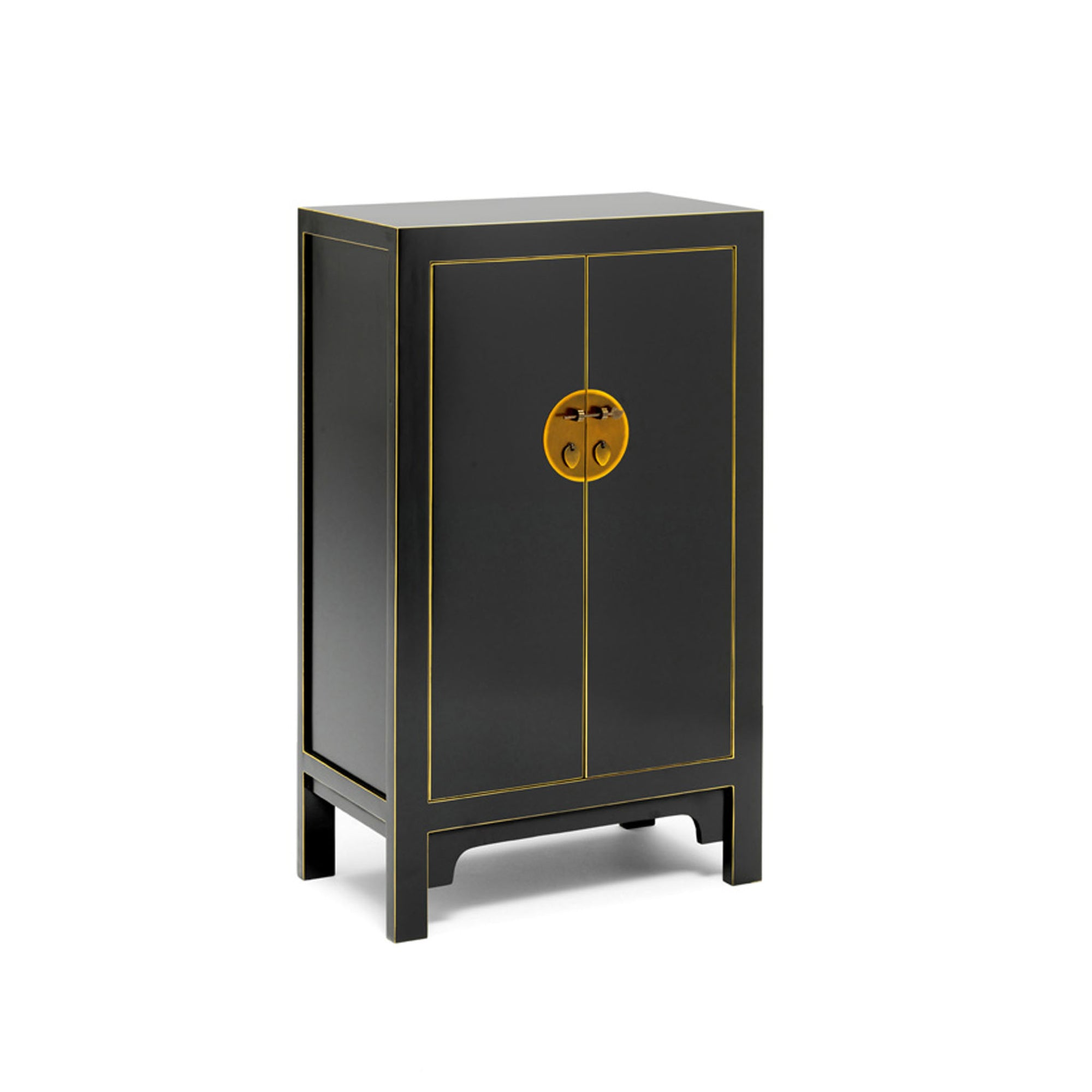 The Nine Schools Qing Black and Gilt Medium Cabinet by Roseland Furniture