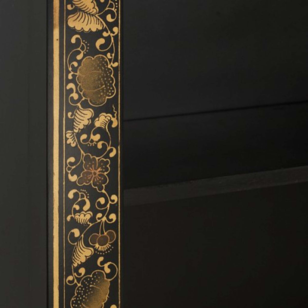 The Nine Schools Oriental Decorated Black Bookcase - close up of Chinese pattern