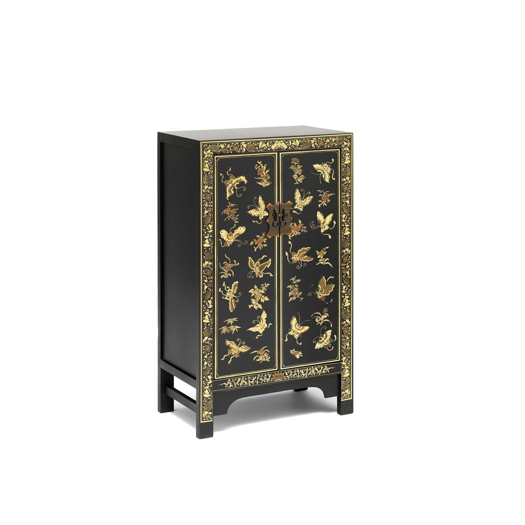 The Nine Schools Oriental Decorated Black Medium Cabinet by Roseland Furniture