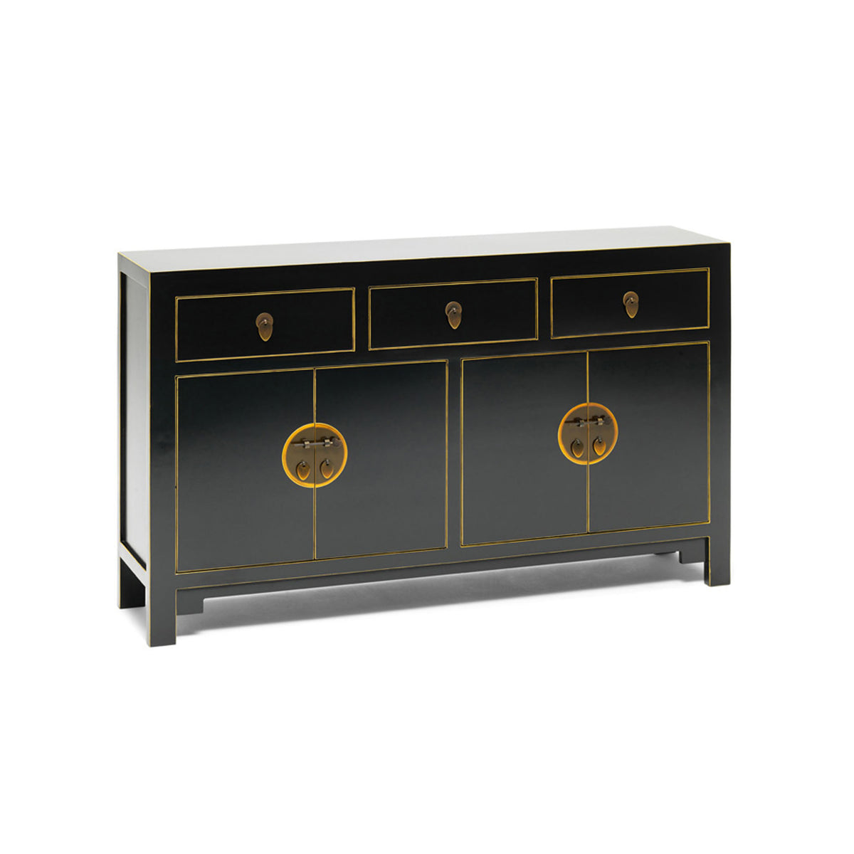 The Nine Schools Qing Black and Gilt Large Sideboard by Roseland Furniture