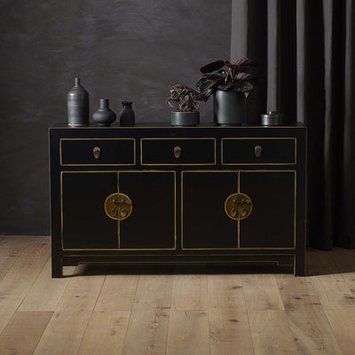 The Nine Schools Qing Black and Gilt Large Sideboard