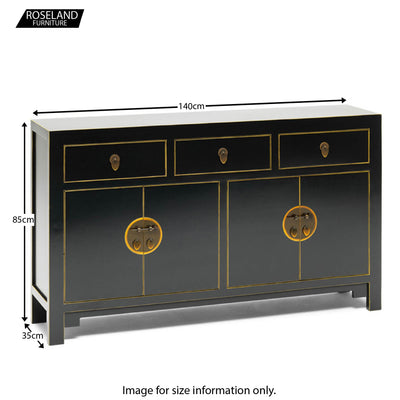 Dimensions - The Nine Schools Qing Black and Gilt Large Sideboard