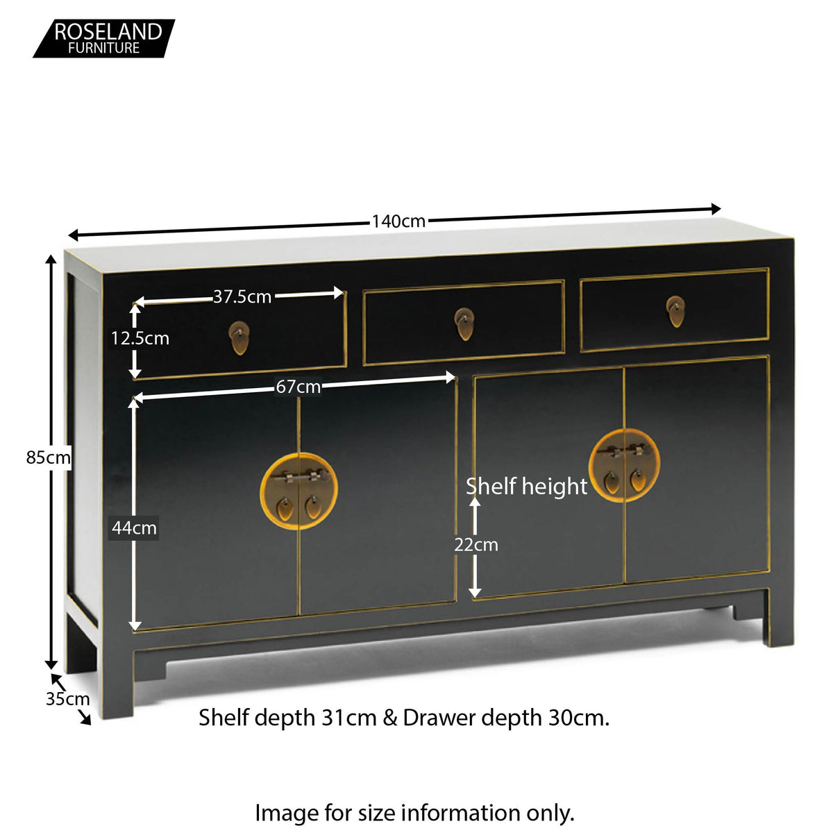 The Nine Schools Qing Black and Gilt Large Sideboard - Additional Size Guide