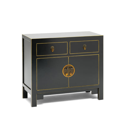 The Nine Schools Qing Black and Gilt Small Sideboard