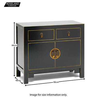 The Nine Schools Small Black Gilt Sideboard - Size Guide