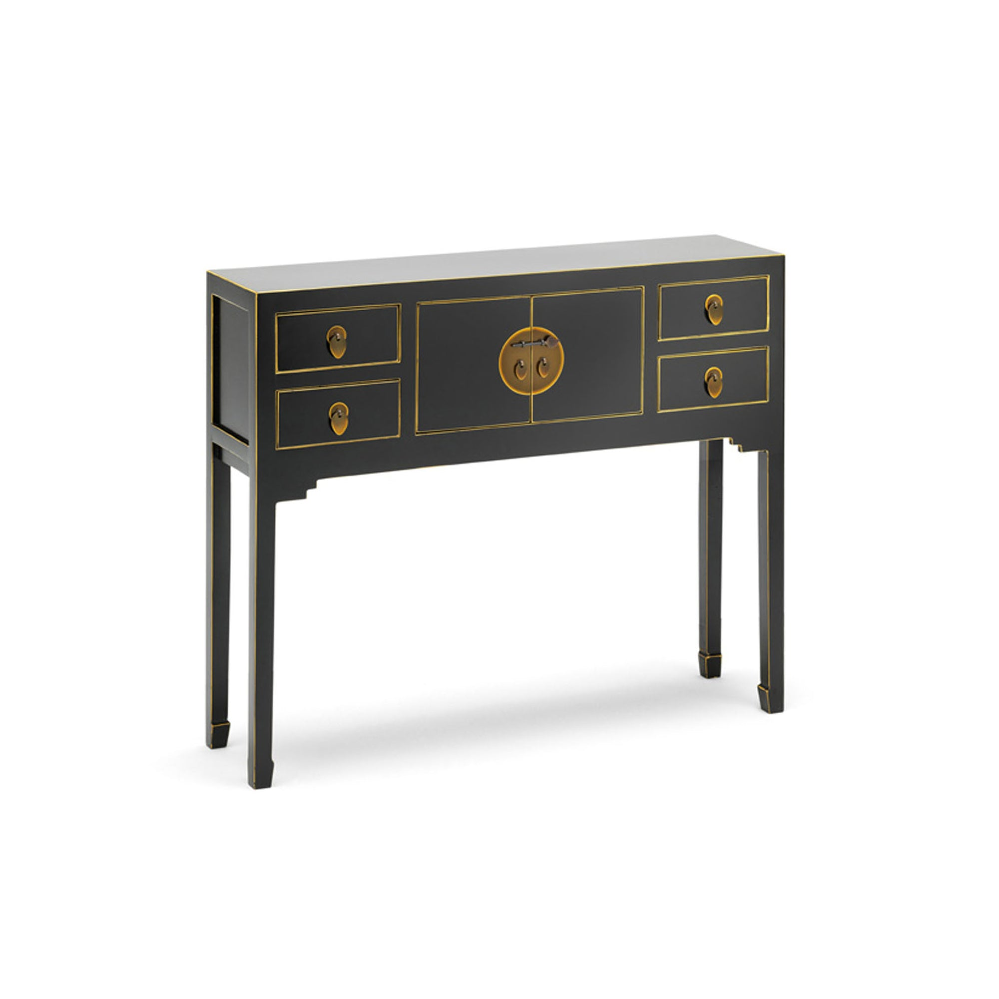 The Nine Schools Black Small Console Table by Roseland Furniture