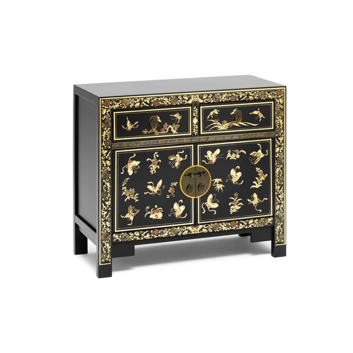The Nine Schools Oriental Decorated Black Sideboard by Roseland Furniture