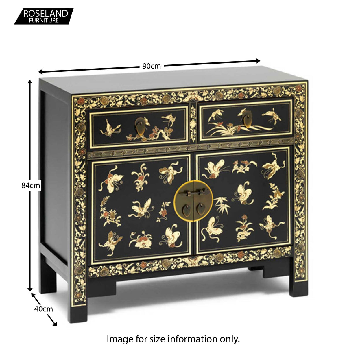 Dimensions - The Nine Schools Oriental Decorated Black Sideboard