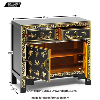 The Nine Schools Oriental Decorated Black Sideboard - Size Guide