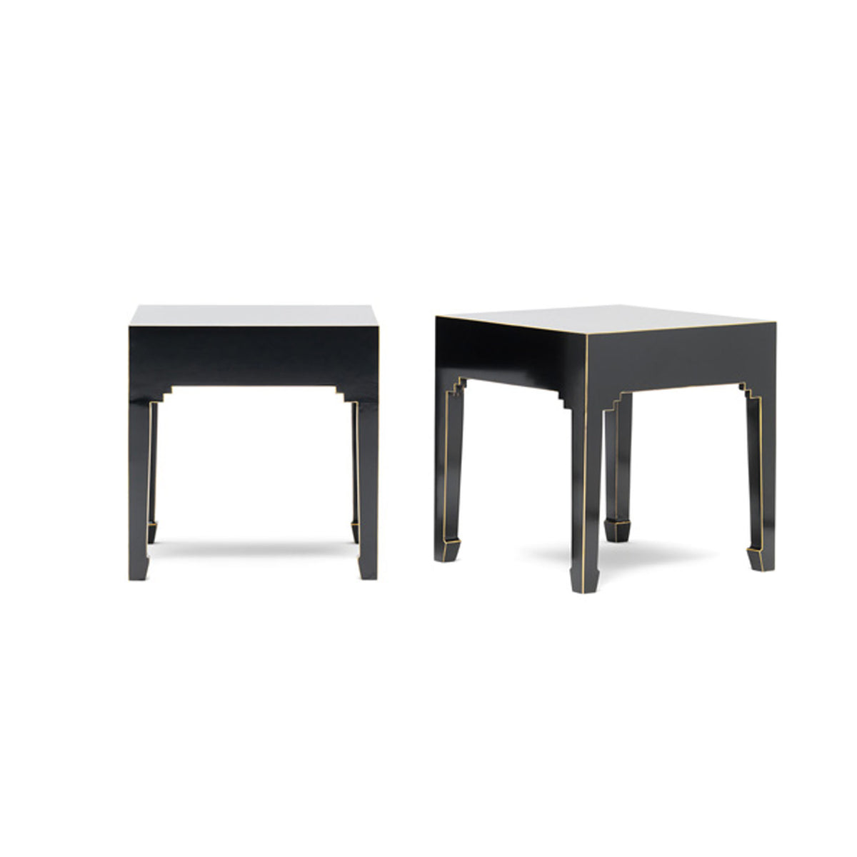 The Nine Schools Black Pair of Lamp Tables by Roseland Furniture