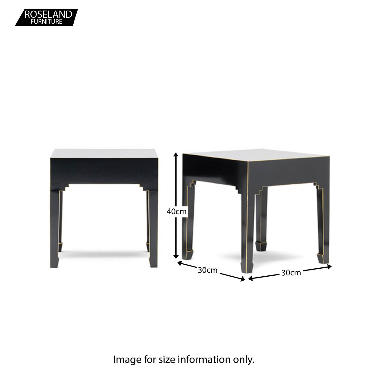 The Nine Schools Black Pair of Lamp Tables - Size Guide
