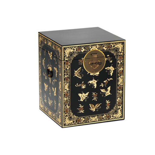 The Nine Schools Oriental Decorated Black Trunk by Roseland Furniture