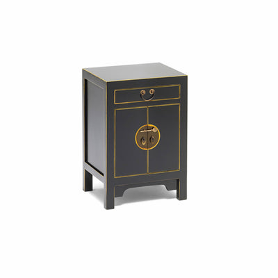 The Nine Schools Qing Black and Gilt Small Cabinet by Roseland Furniture