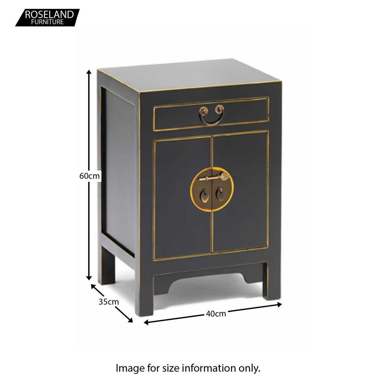 Dimensions - The Nine Schools Qing Black and Gilt Small Cabinet