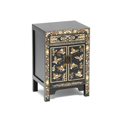 The Nine Schools Oriental Decorated Black Small Cabinet by Roseland Furniture