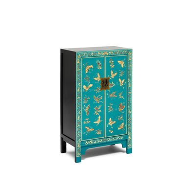 The Nine Schools Oriental Decorated Blue Medium Cabinet by Roseland Furniture