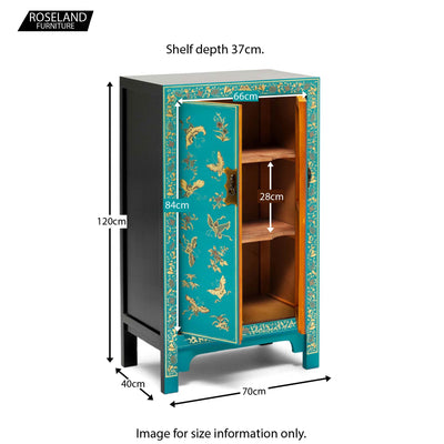 The Nine Schools Oriental Decorated Blue Medium Cabinet - Additional Size Guide