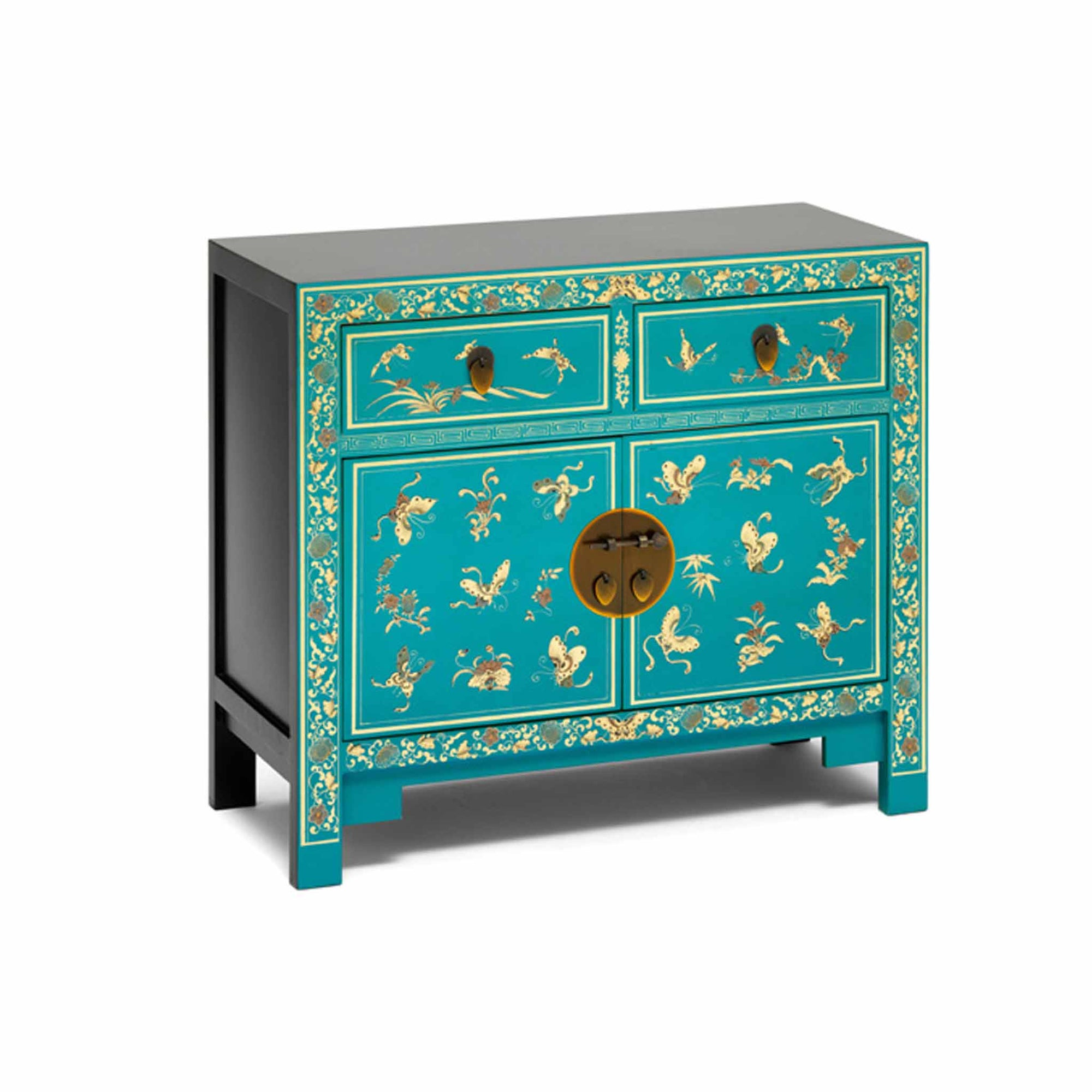 The Nine Schools Oriental Decorated Blue Sideboard by Roseland Furniture
