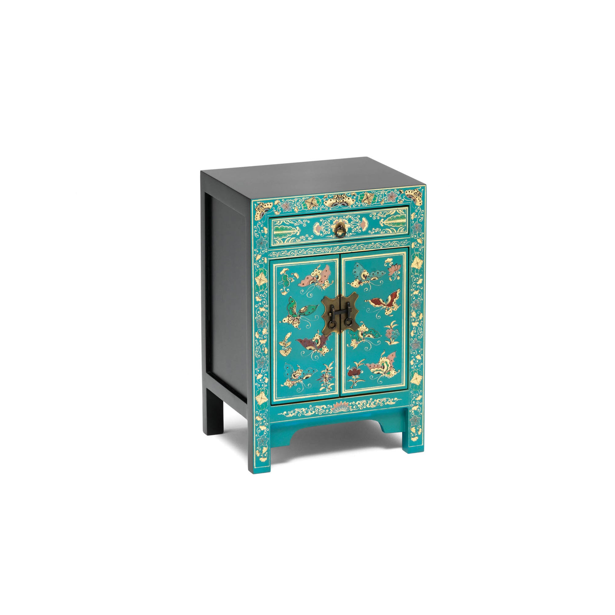 The Nine Schools Oriental Decorated Blue Small Cabinet by Roseland Furniture