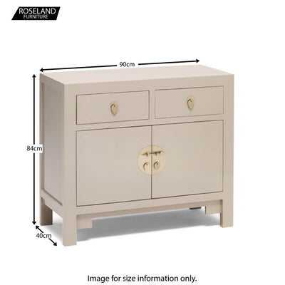 The Nine Schools Qing Oyster Grey Medium Sideboard - Size Guide