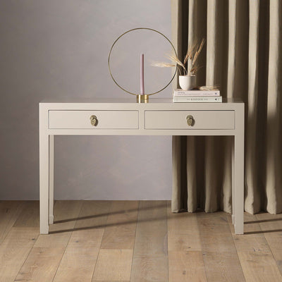 The Nine Schools Oyster Grey Large Console Table - Lifestyle