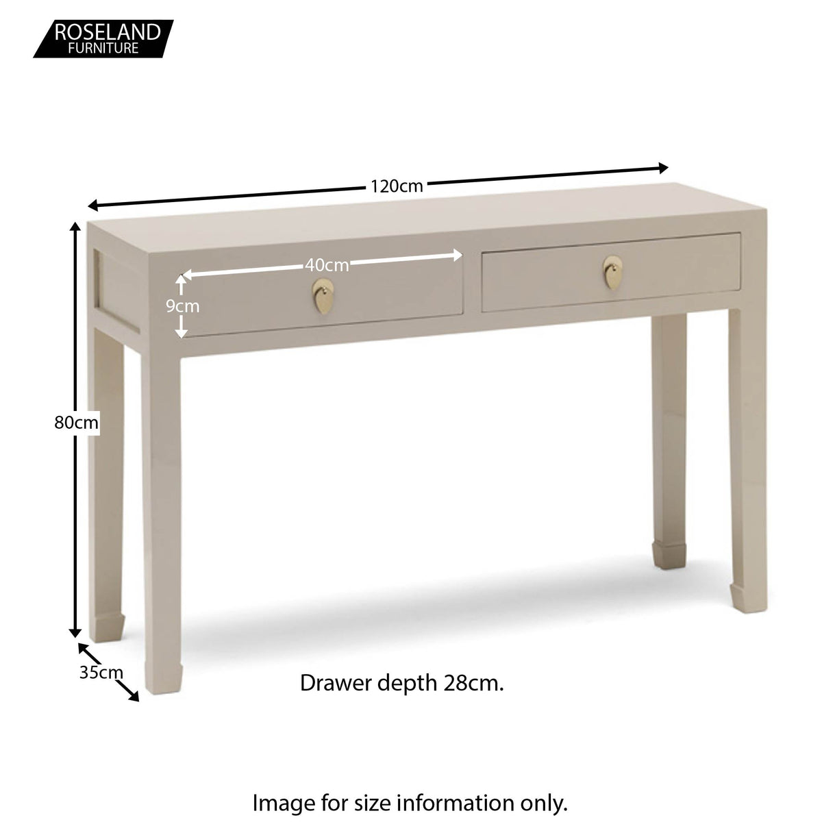 The Nine Schools Oyster Grey Large Console Table - Additional Size Guide