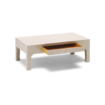 The Nine Schools Oyster Grey Coffee Table - with drawer open