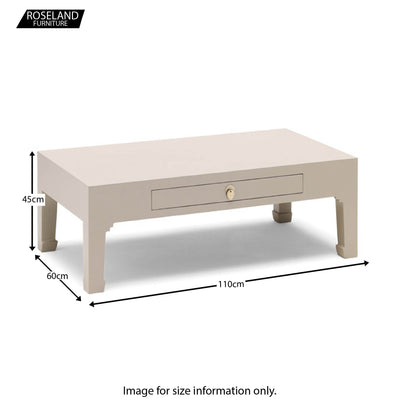 The Nine Schools Oyster Grey Coffee Table - Size Guide