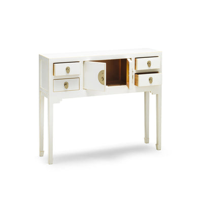 The Nine Schools White Small Console Table - With drawers and cupboard open