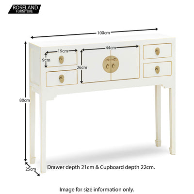 The Nine Schools White Small Console Table - Additional Size Guide
