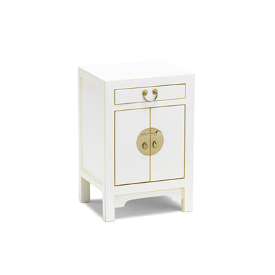 The Nine Schools Qing White and Gilt Small Cabinet by Roseland Furniture