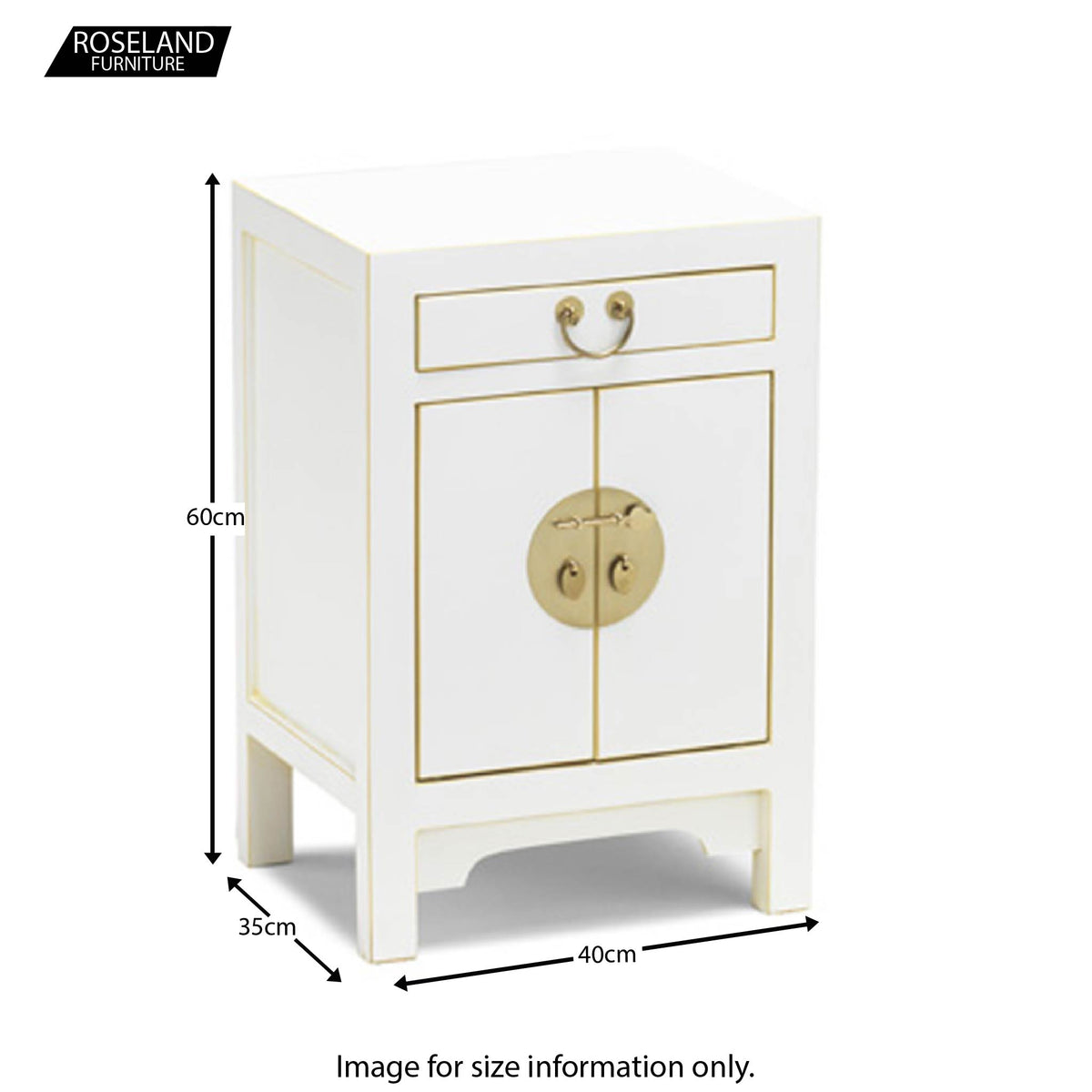 The Nine Schools Qing White and Gilt Small Cabinet - Size Guide