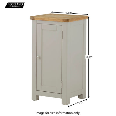 Padstow Grey Painted 1 Door Cabinet - Size Guide