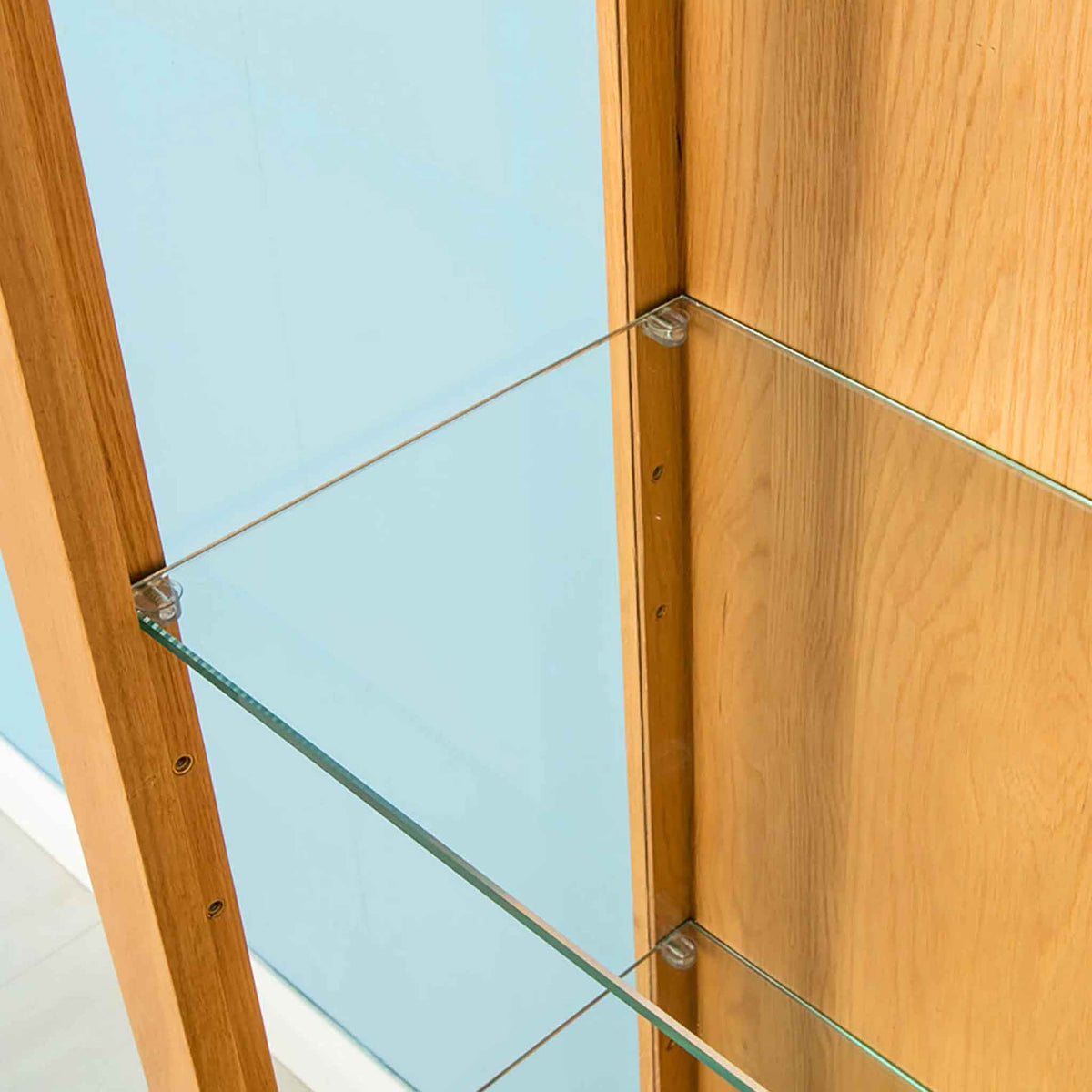 Roseland Oak Glass Display Cabinet - Close Up of Glass Shelves