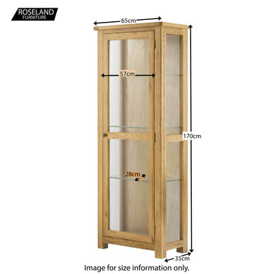 Roseland Oak Glass Display Cabinet - Size Guide