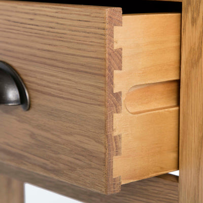 Roseland Oak Lamp Side Table - Close up of dovetail joints on drawer