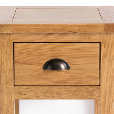 Roseland Oak Lamp Side Table - Close up of drawer