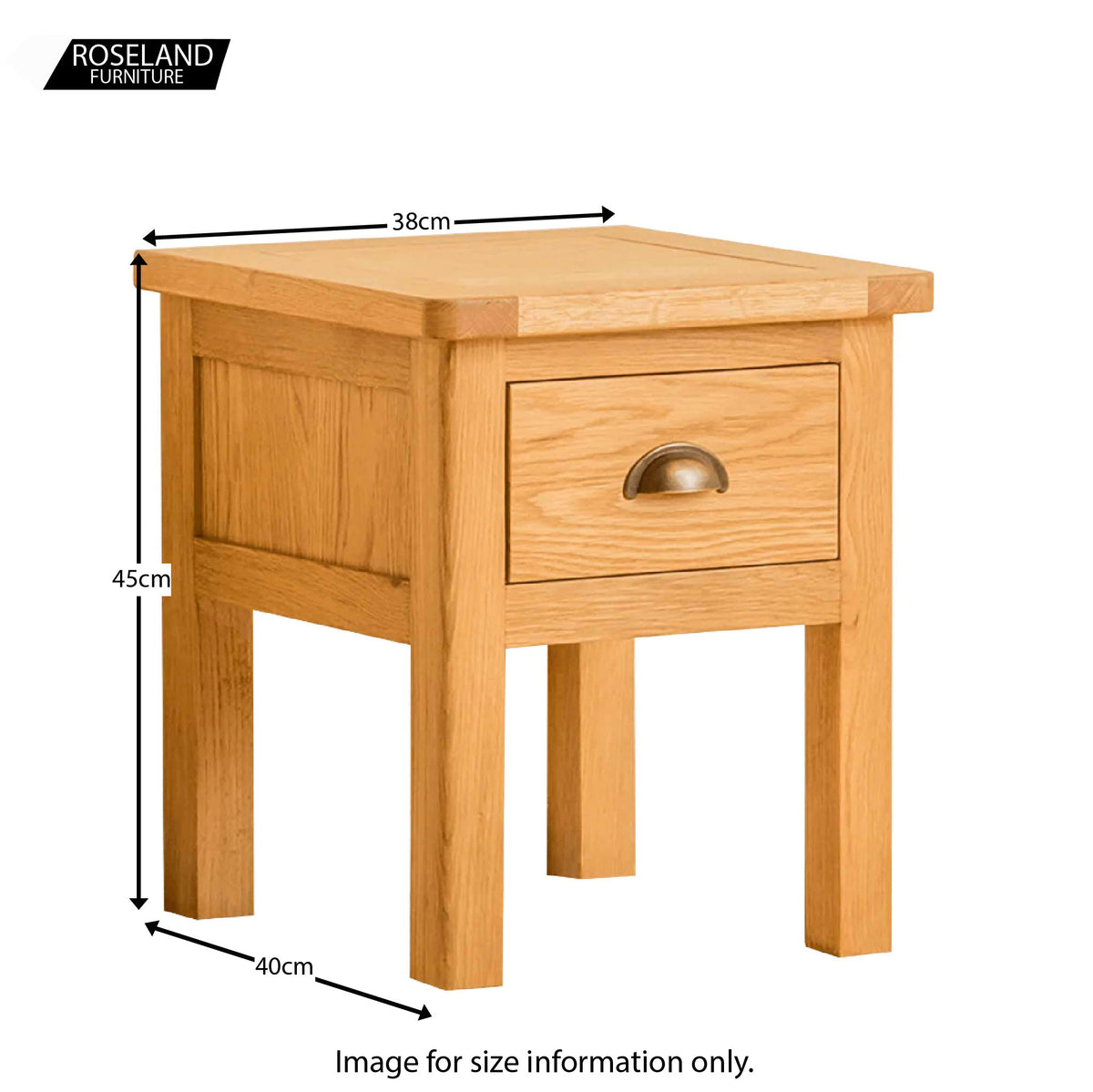 Roseland Oak Lamp Table - Size Guide