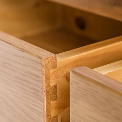close up of the drawers on the Roseland Oak Console Table