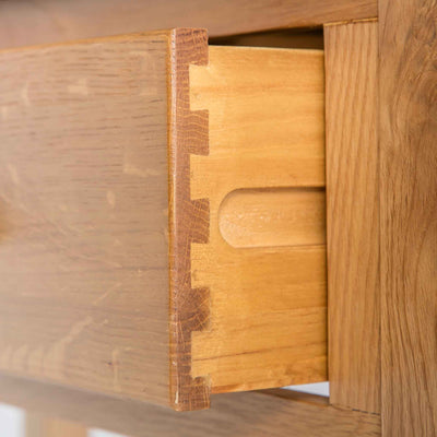 close up of dovetail joints on the Roseland Oak Console Table