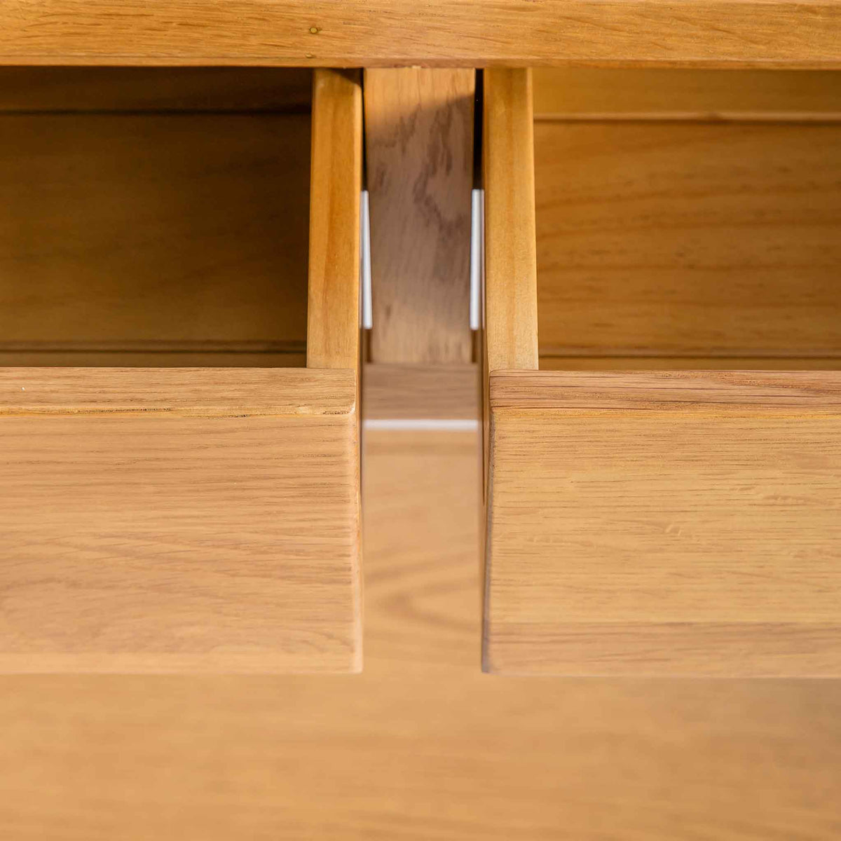 close up of opened drawers on the the Roseland Oak Console Table