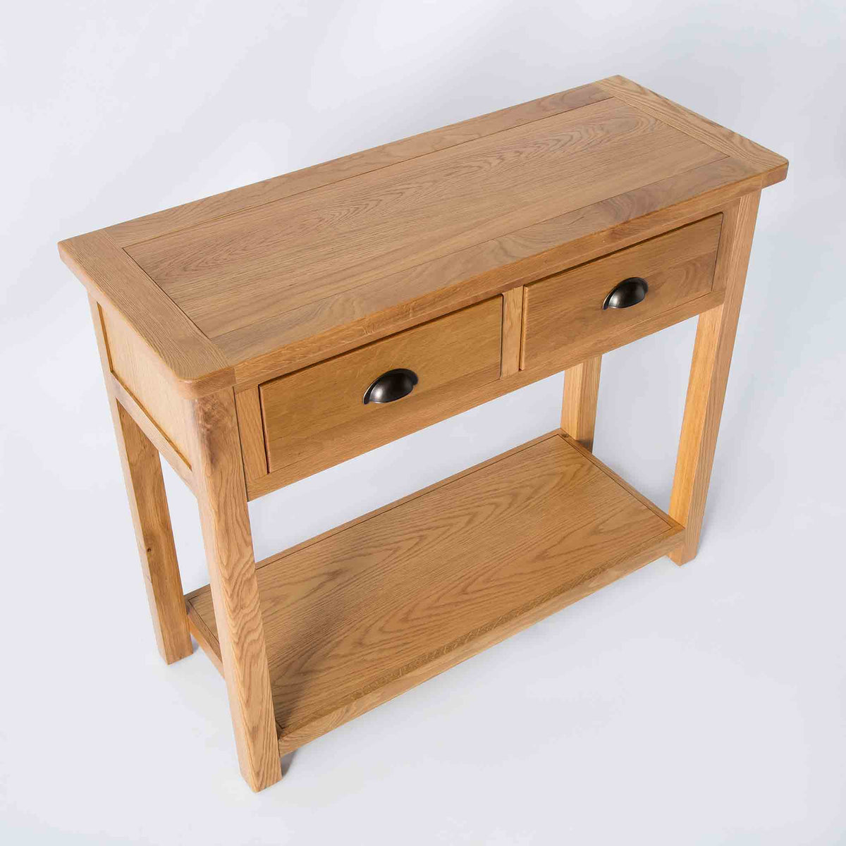 top side view of the the Roseland Oak Console Table with 2 Drawers