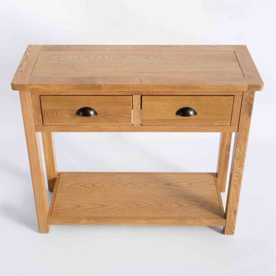 Roseland Oak Console Table with storage drawers