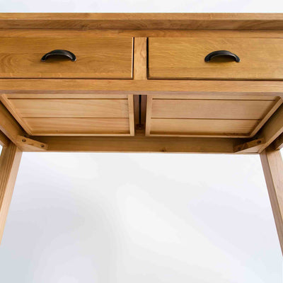 underside view of the the Roseland Oak Console Table