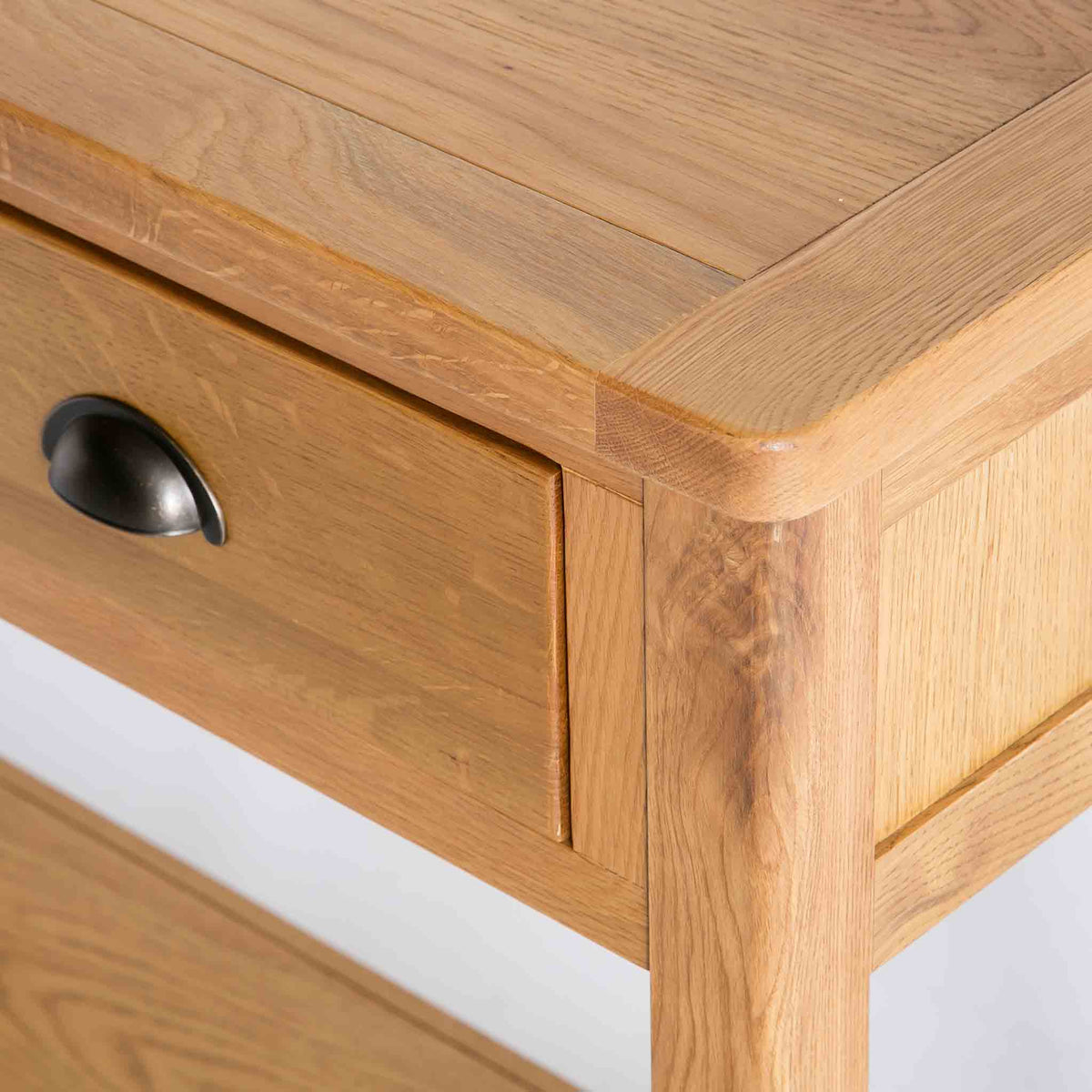 close up of rounded corners on the Roseland Oak Console Table