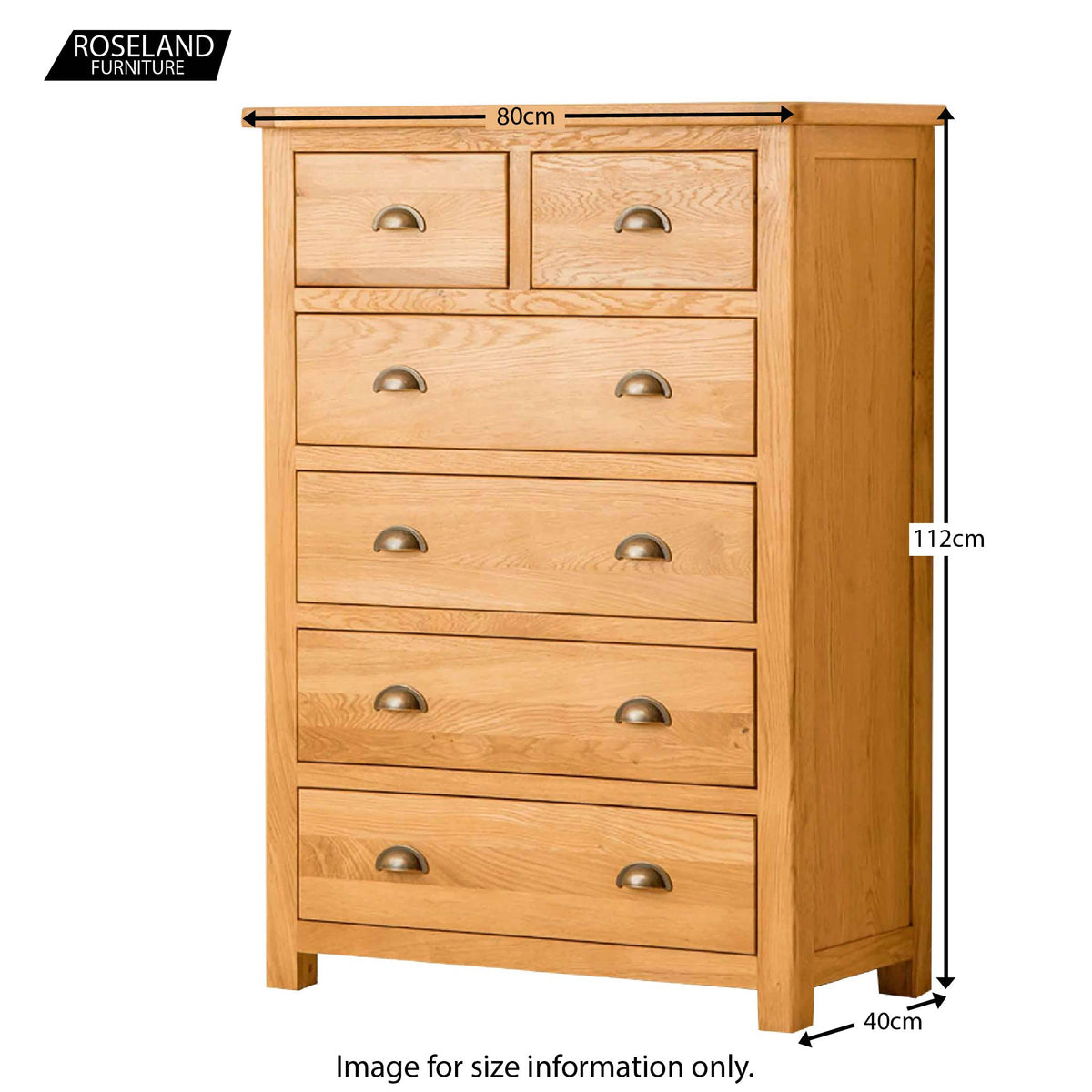 Roseland Oak 2 Over 4 Drawer Chest - Size Guide