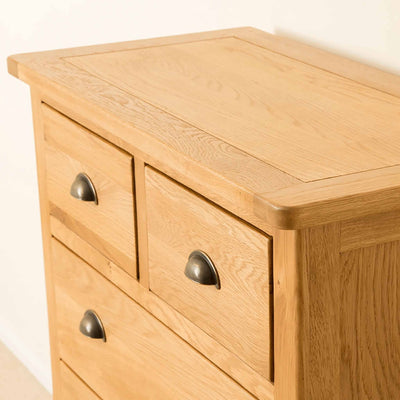 Front and top of Roseland Oak 2 Over 4 Drawer Chest