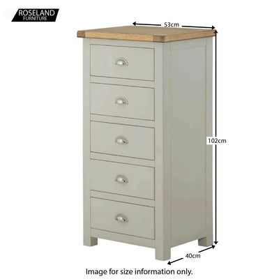 Padstow Grey Tallboy Chest of Drawers - Size Guide