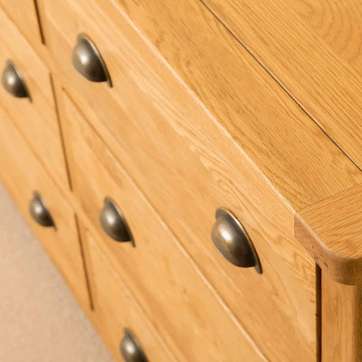 Drawers of Roseland Oak 6 Drawer Chest